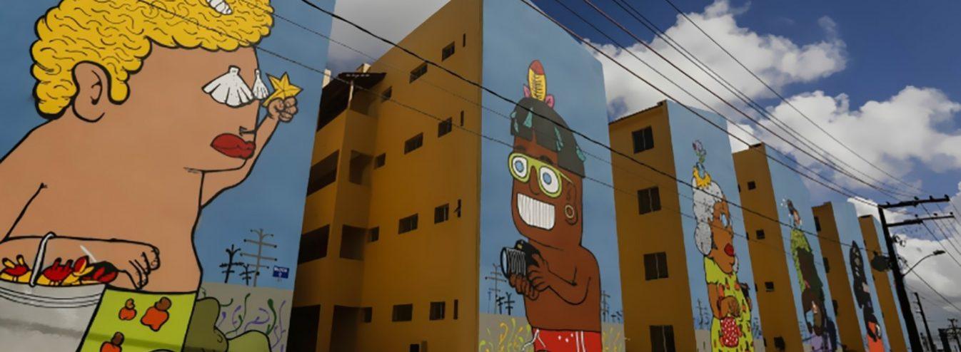 arte 1346x494 - Painéis de Manoel Quitério colorem conjunto habitacional no Recife