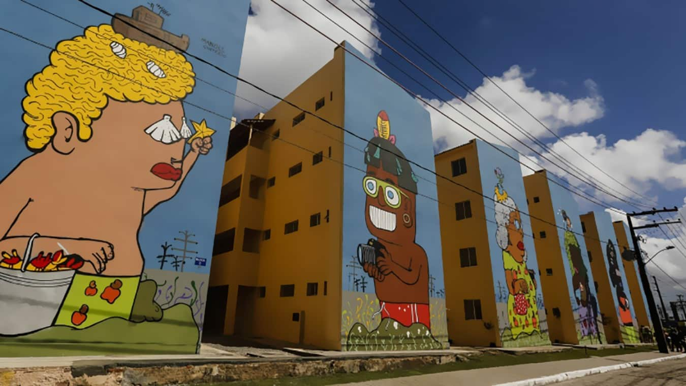 arte - Painéis de Manoel Quitério colorem conjunto habitacional no Recife