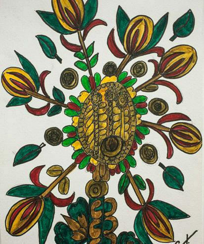 Obra de Conchita Brennand com elementos da natureza