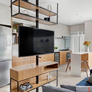 0cee05b24d08957b262009db31f7f4b7 ok 390x390 - Projeto de apartamento pequeno, faz uso da integração