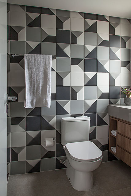 revistaSIM Arquitetura Apt 85m2 Banheiro do adolescente Credito Luis Gomes - Projeto de apartamento de 85 m² aposta em soluções criativas
