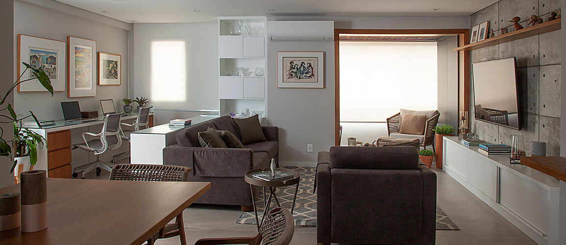 revistaSIM Arquitetura Apt 85m2 DESTAQUE Credito Luis Gomes 1 1155x500 - Projeto de apartamento de 85 m² aposta em soluções criativas