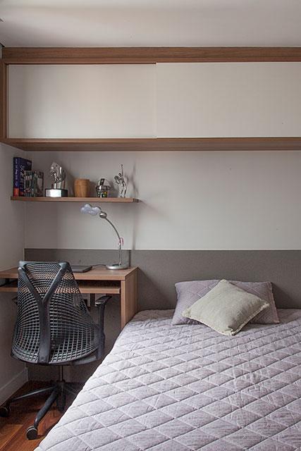 revistaSIM Arquitetura Apt 85m2 Suite do adolescente Credito Luis Gomes - Projeto de apartamento de 85 m² aposta em soluções criativas