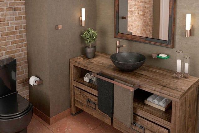 revistaSIM Arquitetura Banheiros Porta toalha em barra na bancada 2 Divulgacao - Confira as dicas de projetos de banheiros para você não errar