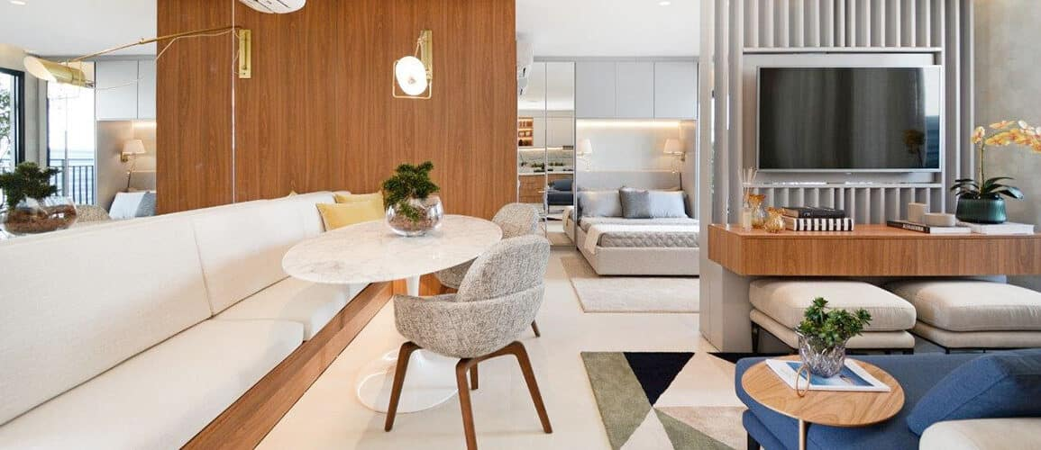 revistaSIM Arquitetura Loft 48m2 DESTAQUE Credito Marcus Camargo 1155x500 - Com soluções práticas um loft de 48m² passa a ideia de amplitude