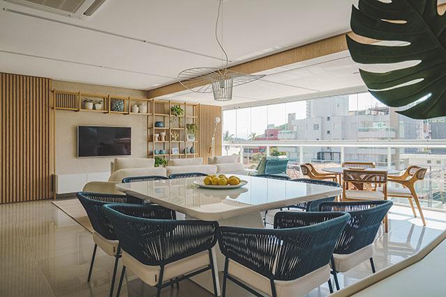 revistaSIM Arquitetura Apto 130m Sala de estar e jantar Foto Marcelo Stammer - Confira uma inspiração para decoração do apto de praia